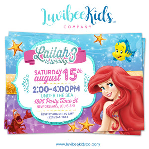 Little Mermaid Birthday Invitation | Style 02 - LuvibeeKidsCo