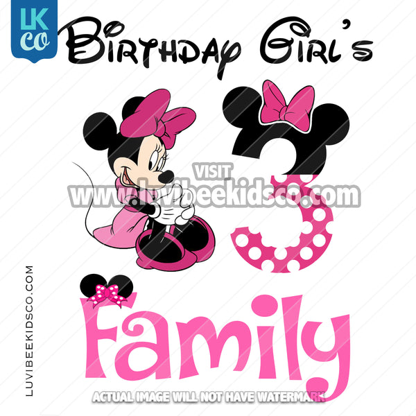 Minnie Mouse Iron On Transfer | Add Family Member of the Birthday Girl | Pink Dots & Bows