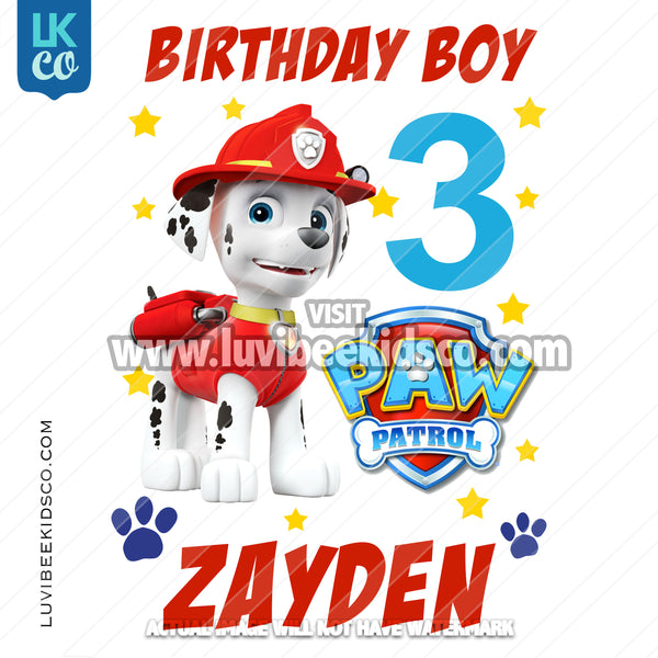 Paw Patrol Iron On Transfer - Marshall Pup | Birthday Boy - LuvibeeKidsCo