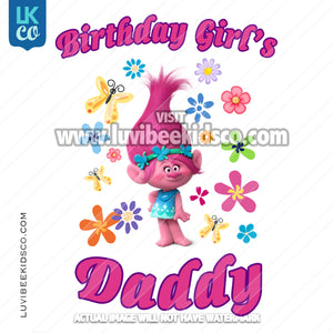 Trolls Poppy Iron On Transfer | Birthday Girl's Daddy - Flowers