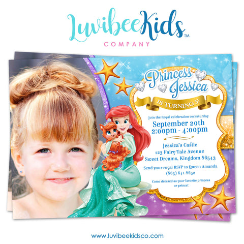 Princess Ariel | Little Mermaid | Birthday Invitation with Photo - LuvibeeKidsCo
