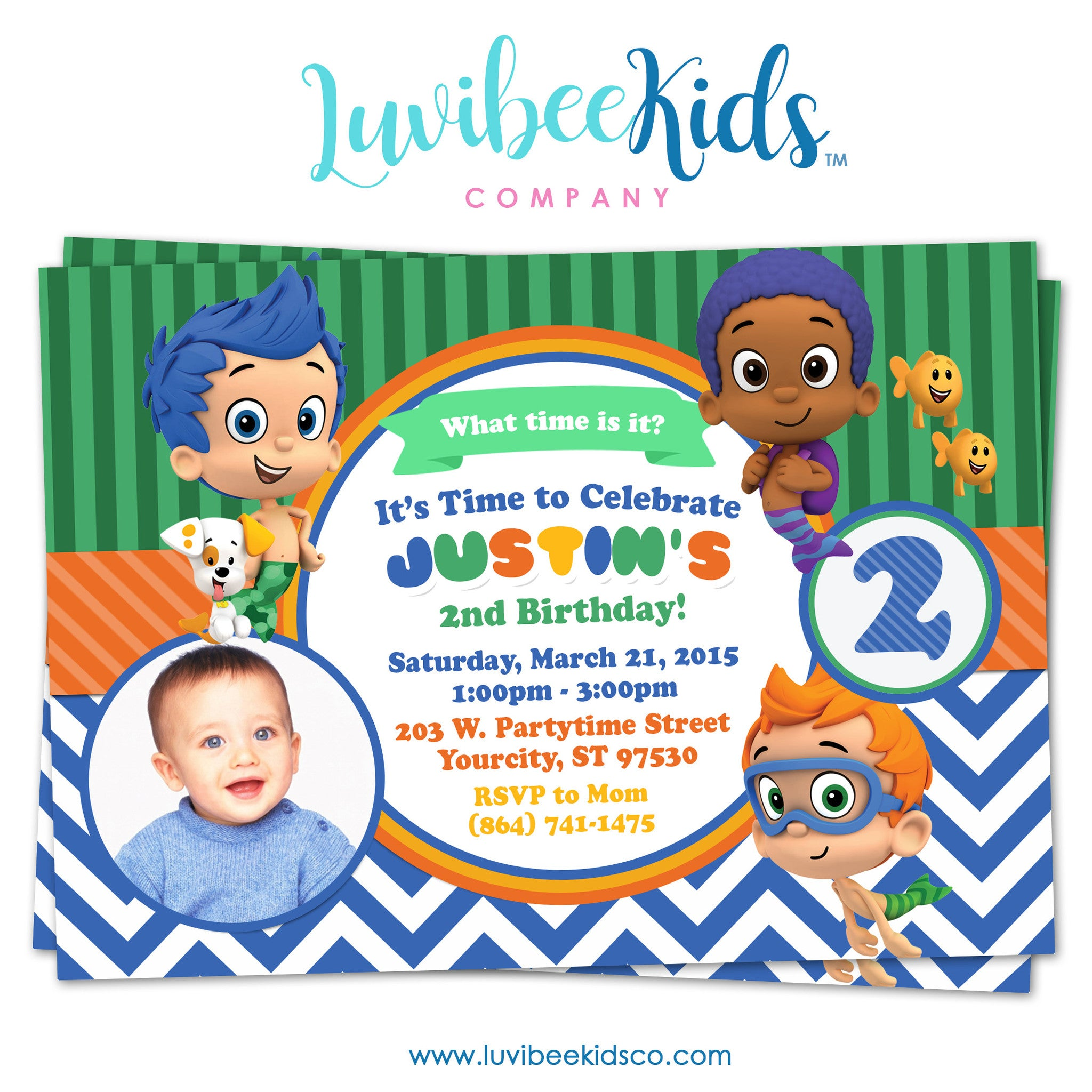 Bubble Guppies - Birthday Invitation - Boy's Style | 003 - LuvibeeKidsCo