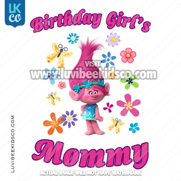 Trolls Poppy Iron On Transfer | Birthday Girl's Mommy - Flowers - LuvibeeKidsCo
