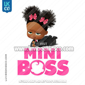 Boss Baby Iron On Transfer | African American Girl | Mini Boss - LuvibeeKidsCo