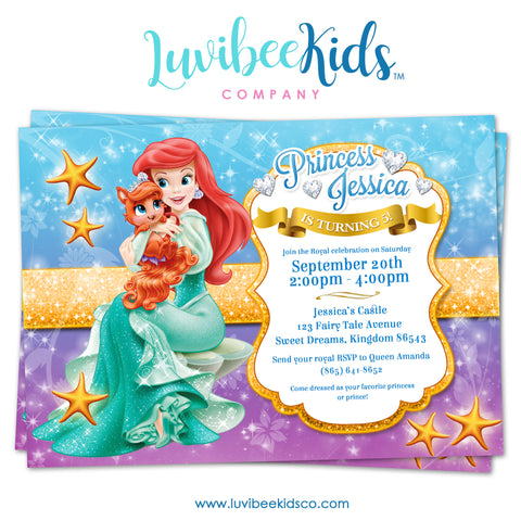 Princess Ariel | Little Mermaid | Birthday Invitation | Style 01 - LuvibeeKidsCo