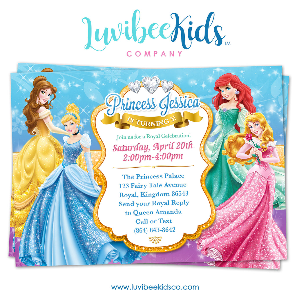 Disney Princesses | Birthday Invitation | Style 01 - LuvibeeKidsCo