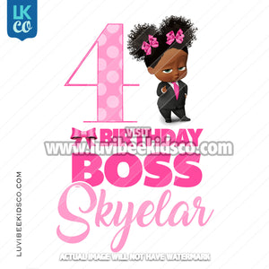 Boss Baby Iron On Transfer | African American Girl | Birthday Boss Curly Puffs - LuvibeeKidsCo