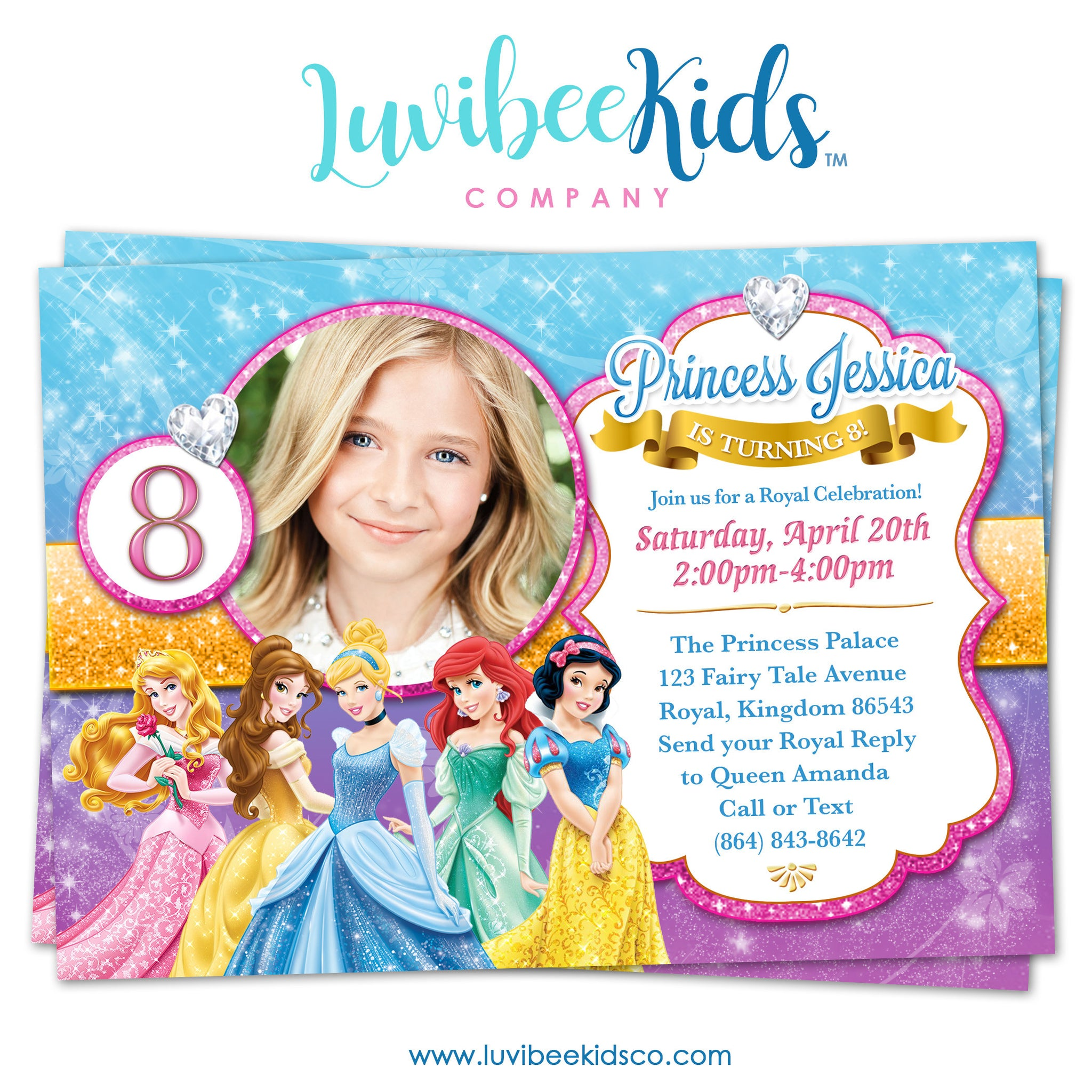 Disney Princesses | Birthday Invitation with Photo | Style 01 - LuvibeeKidsCo