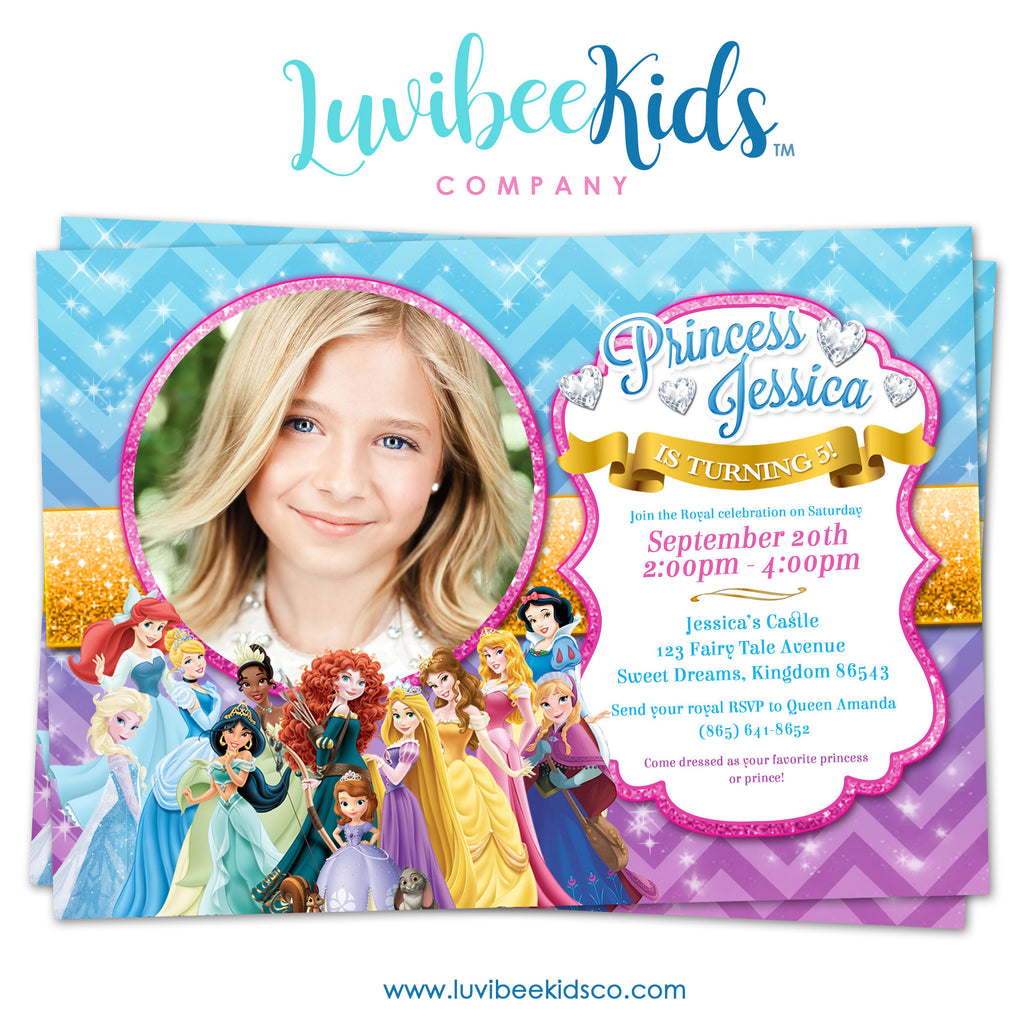 Disney Princesses | Birthday Invitation with Photo | Style 02 - LuvibeeKidsCo