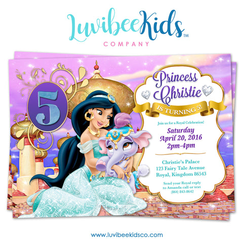 Disney Princesses | Jasmine | Birthday Invitation - LuvibeeKidsCo