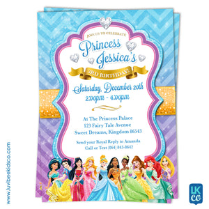 Disney Princesses | Birthday Invitation | Style 02 - LuvibeeKidsCo