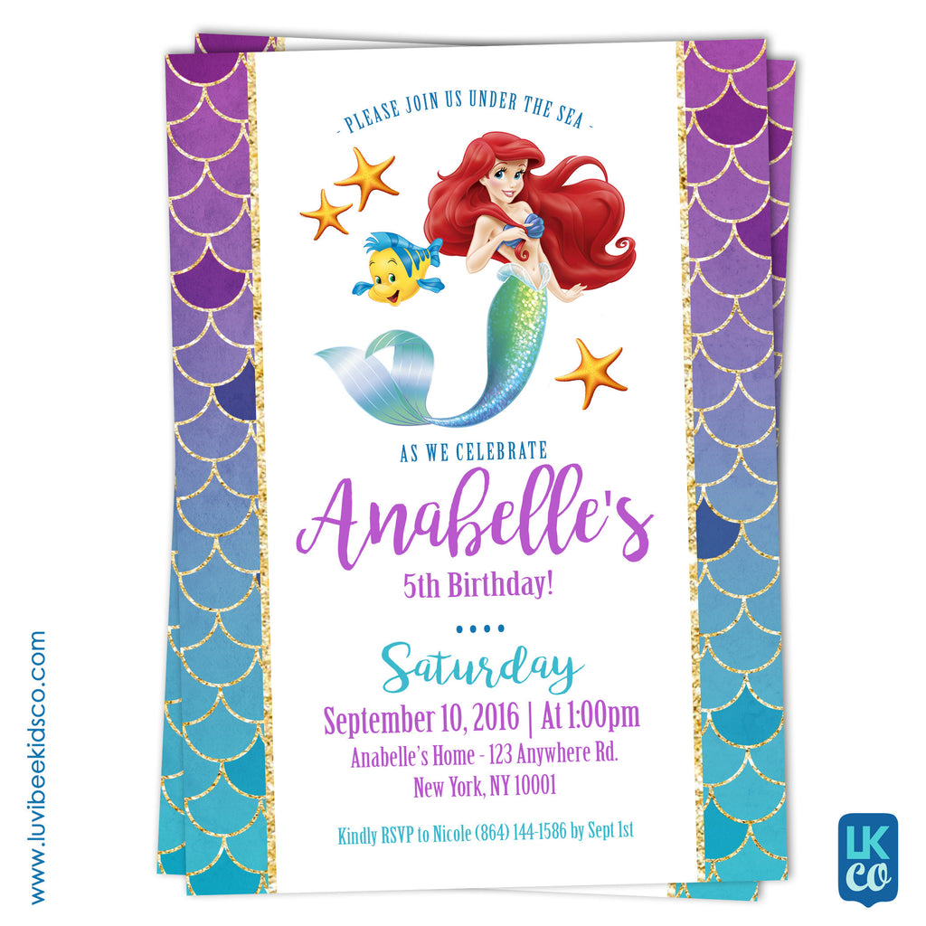 Disney princesses little mermaid birthday invitation luvibeekidsco disney princesses little mermaid birthday invitation filmwisefo