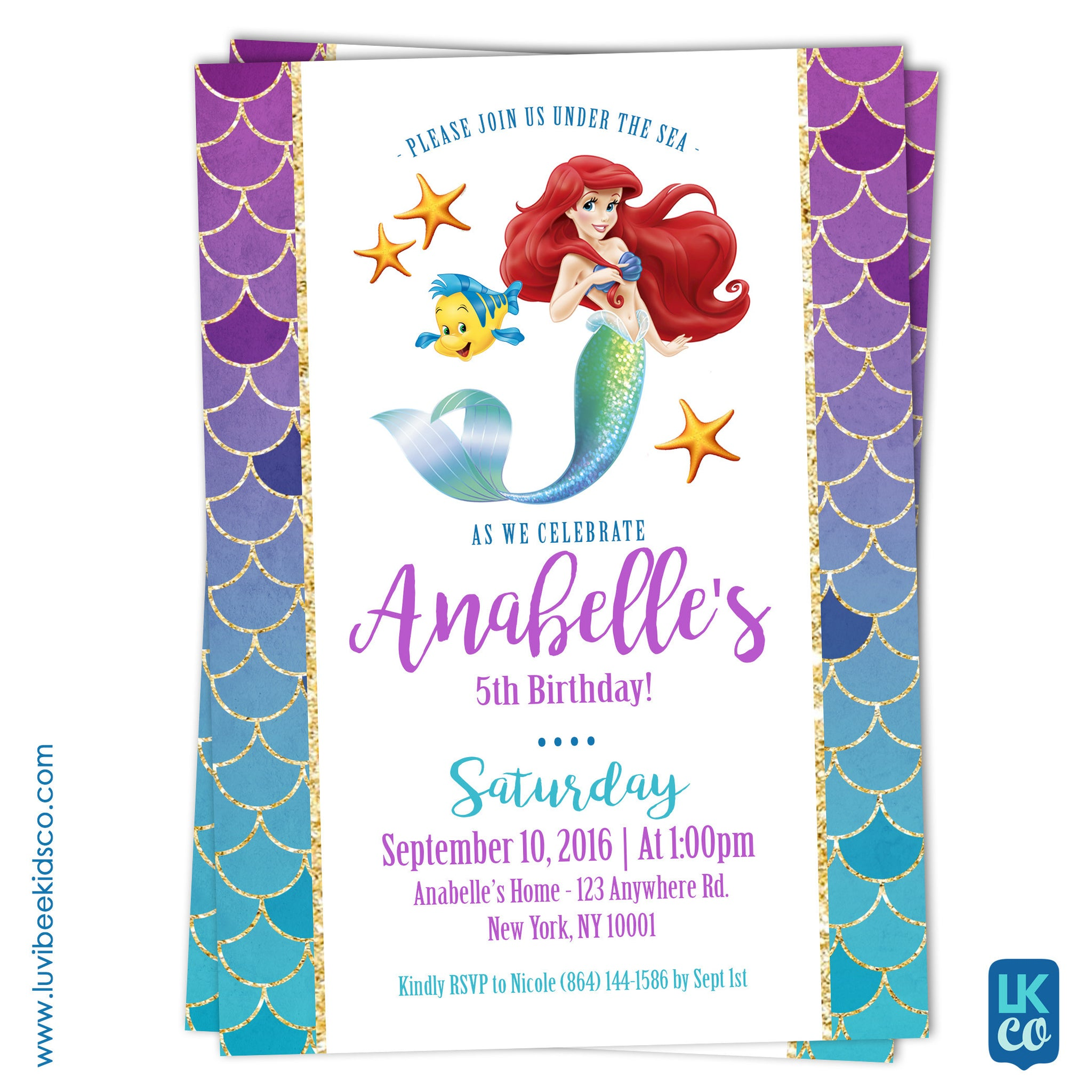 Disney Princesses | Little Mermaid Birthday Invitation - LuvibeeKidsCo