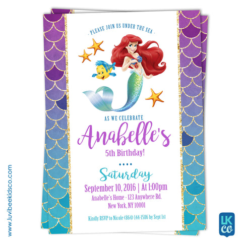 Disney Princesses | Little Mermaid Birthday Invitation