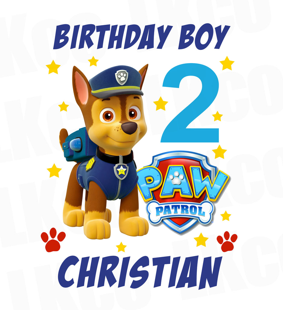 Paw Patrol Iron On Transfer - Birthday Boy | Chase Pup