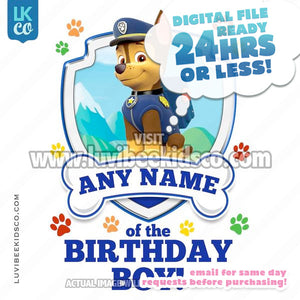 Paw Patrol - Blue Chase Family Member of the Birthday Boy