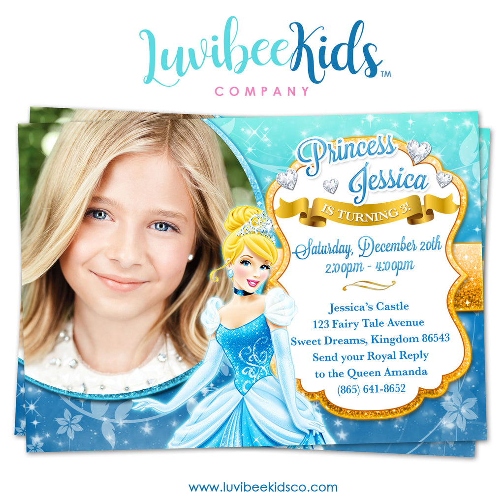 disney princesses cinderella birthday invitation with photo