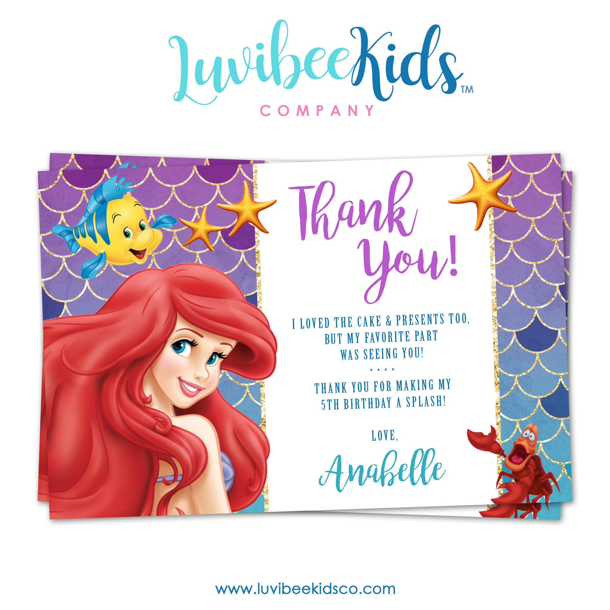 Disney Princesses | Little Mermaid Thank You Card | Personalized Card - LuvibeeKidsCo