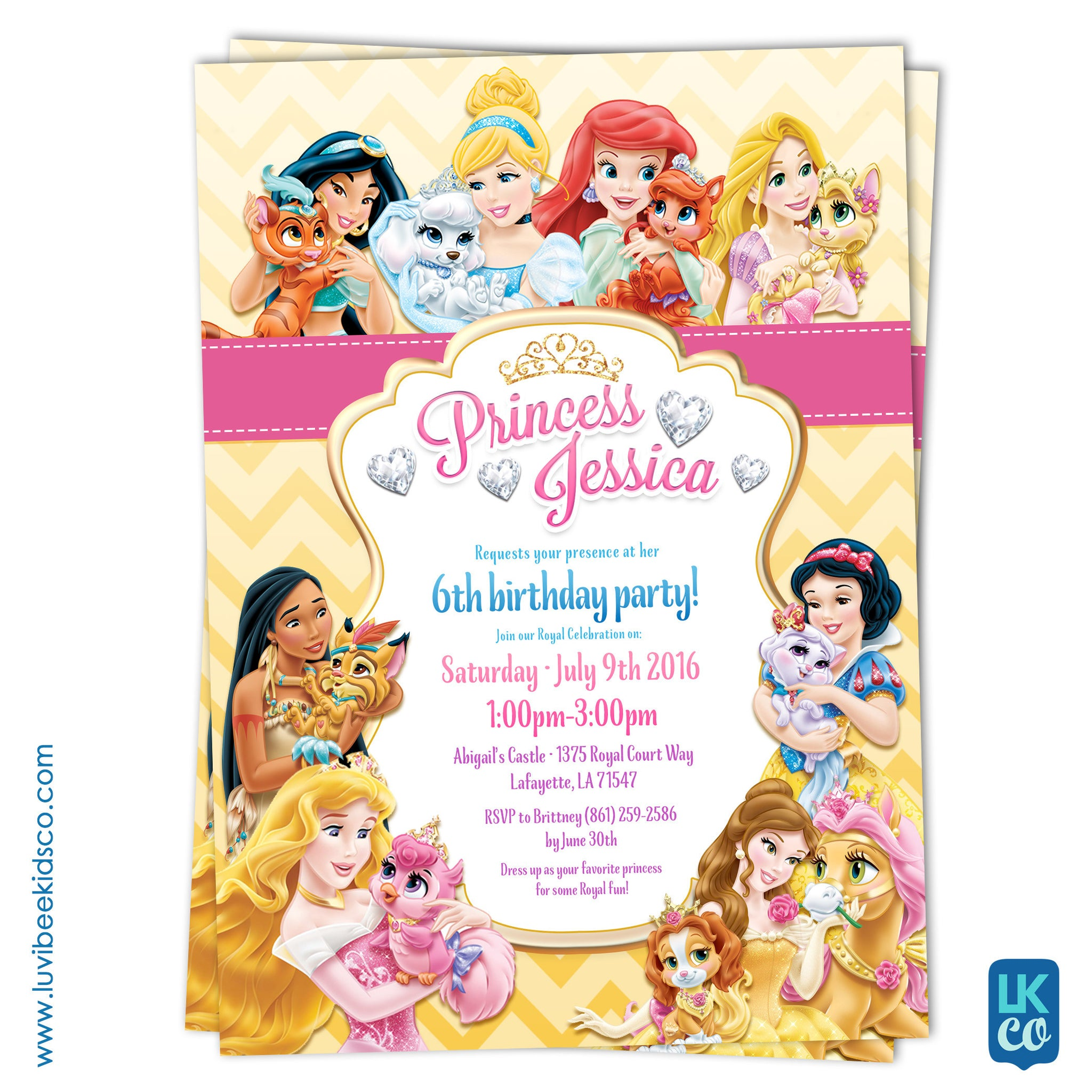 Disney Princess Palace Pets Invitation