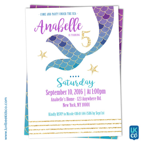 Mermaid Invitation with Back Image - LuvibeeKidsCo