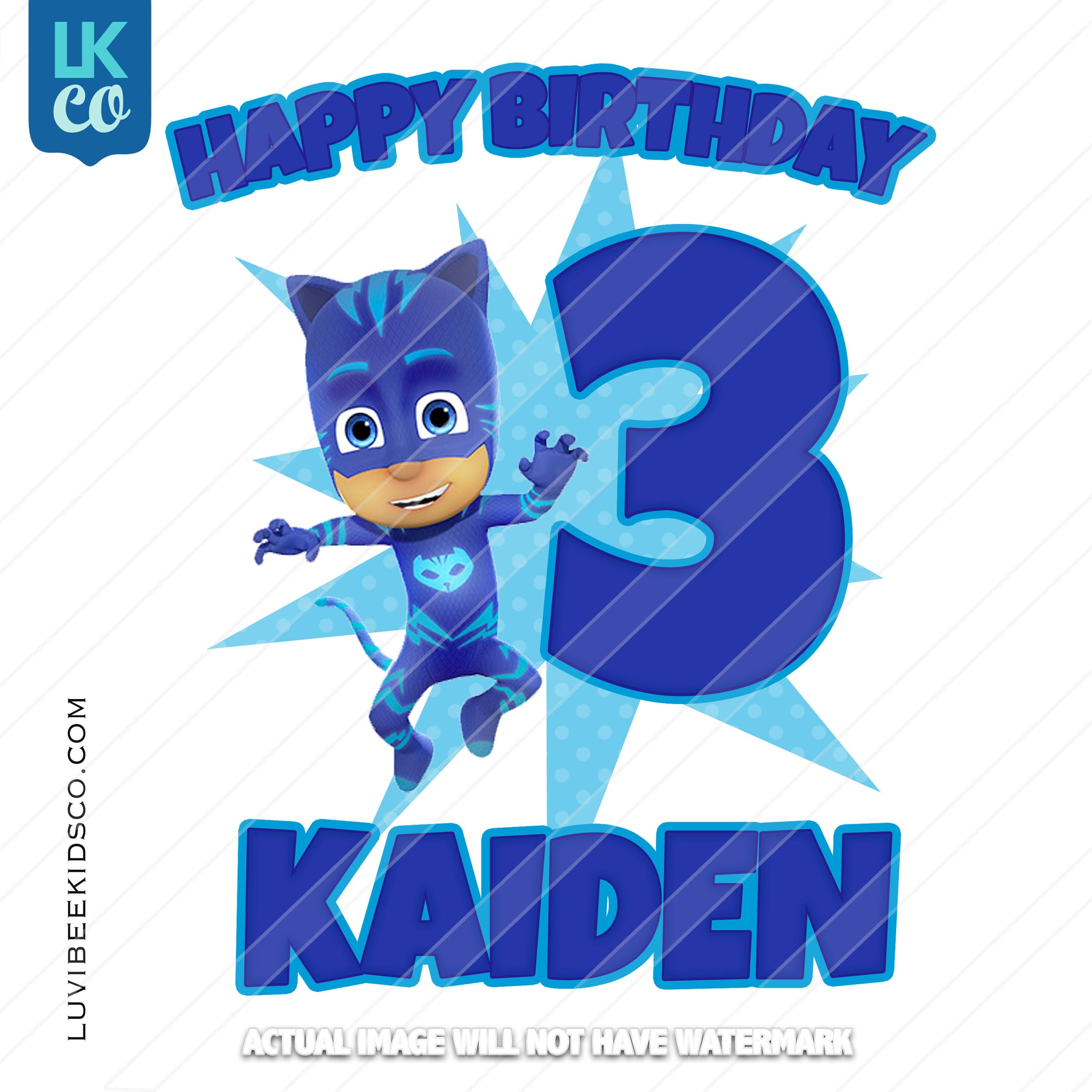 PJ Masks Iron On Transfer | Happy Birthday - Catboy - Blue - LuvibeeKidsCo