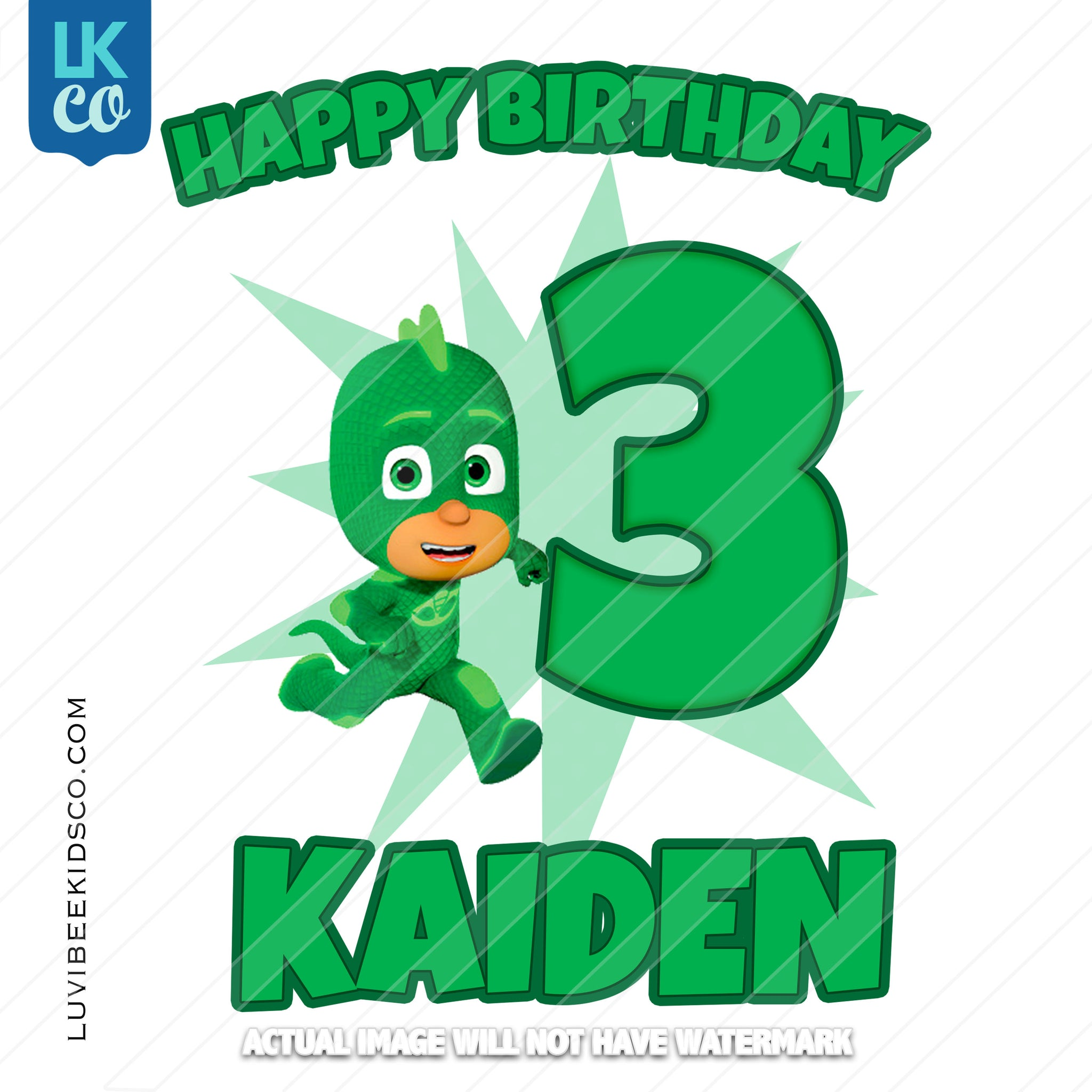 PJ Masks Iron On Transfer | Happy Birthday - Gekko - Green - LuvibeeKidsCo