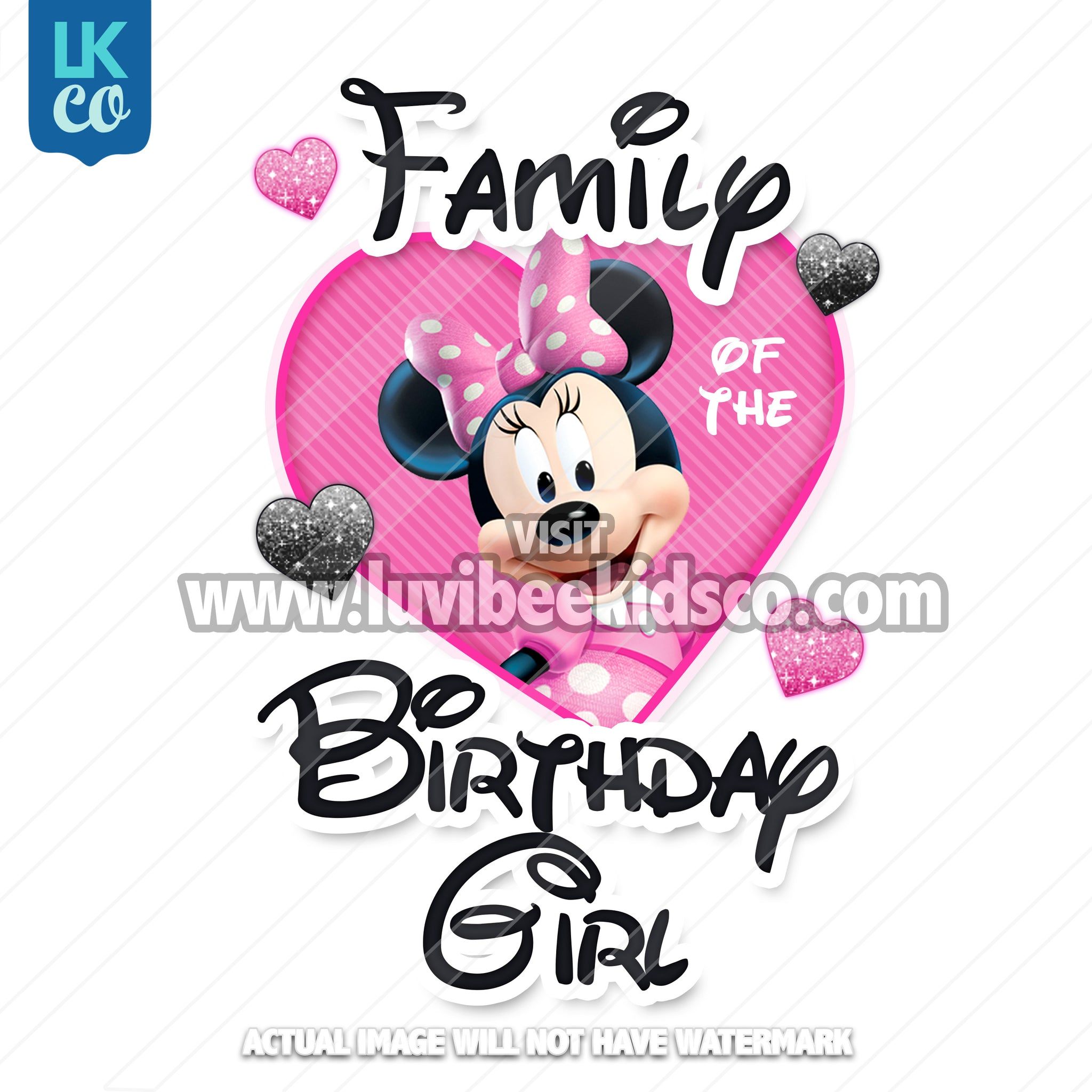 Minnie Mouse Iron On Transfer | Add Family Member of the Birthday Girl | Pink & Black - LuvibeeKidsCo