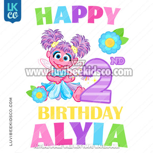 Sesame Street Birthday Iron On Design - Abby Cadabby - Happy Birthday v2 - LuvibeeKidsCo
