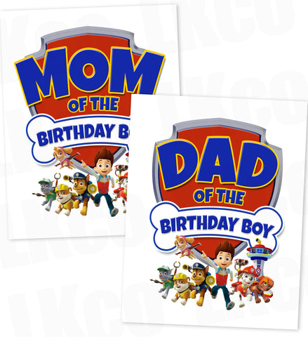 Paw Patrol Iron On Transfer - Birthday Boy's Mom & Dad Set - LuvibeeKidsCo