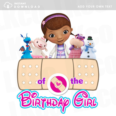 Doc McStuffins Iron On Transfer | Bandaid - Add Your Own Text | Instant Download - LuvibeeKidsCo