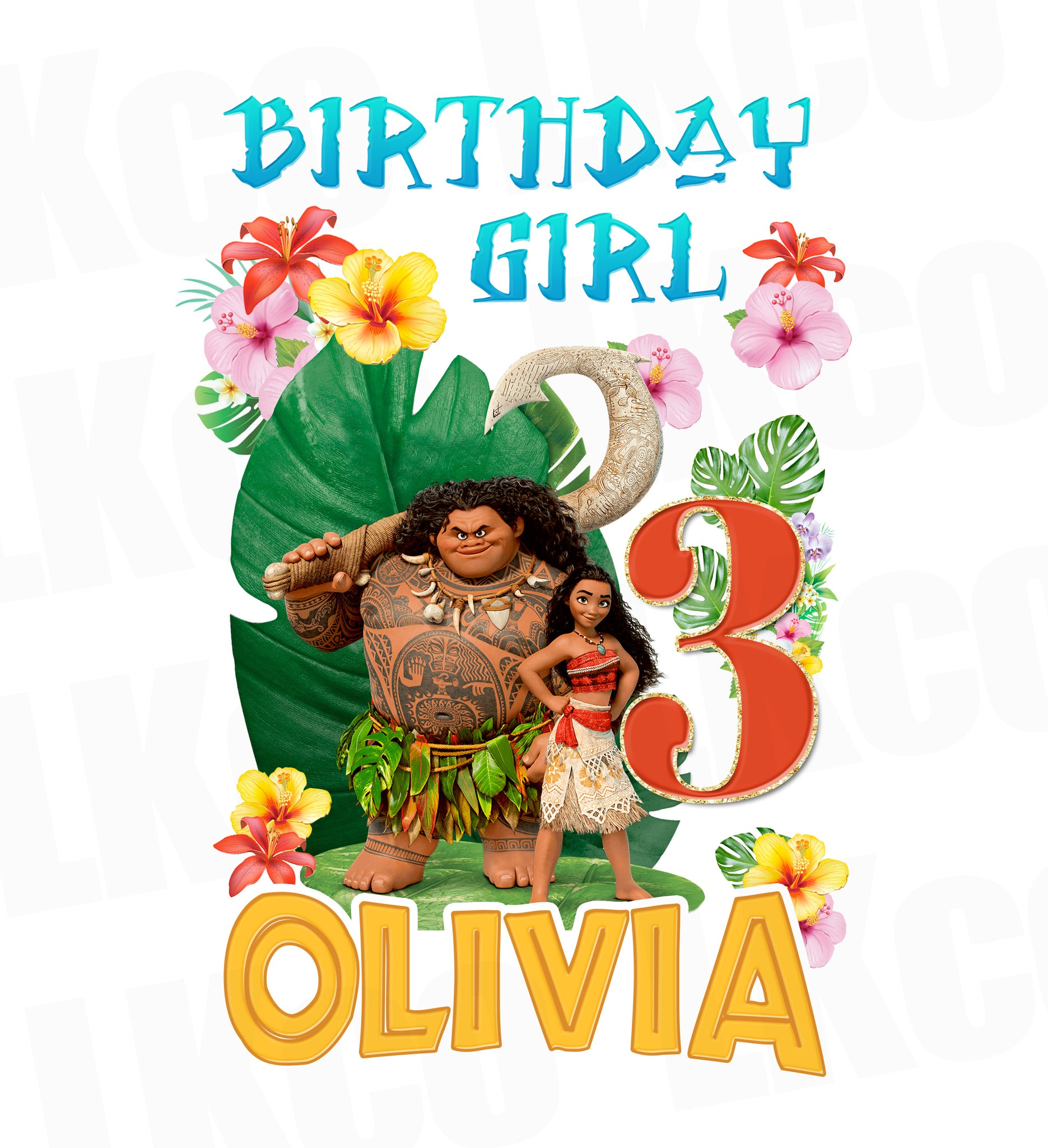 Moana Iron On Transfer | Birthday Girl | Blue - LuvibeeKidsCo