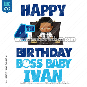 Boss Baby Iron On Transfer | African American Boy | Briefcase | Happy Birthday Boss Baby