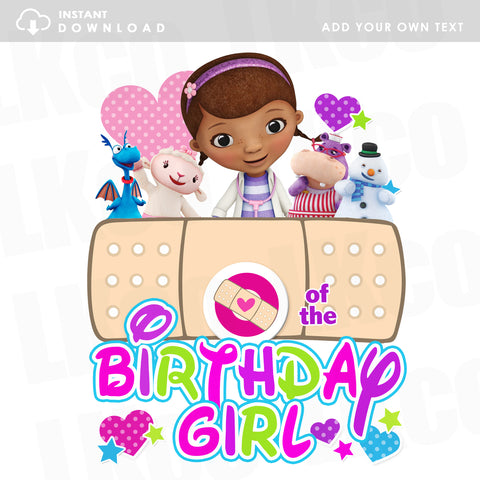Doc McStuffins Iron On Transfer | Rainbow - Add Your Own Text | Instant Download - LuvibeeKidsCo