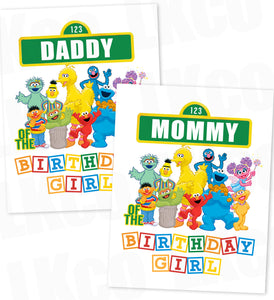 Sesame Street Birthday Iron On Transfers - Mommy & Daddy Set - Birthday Girl