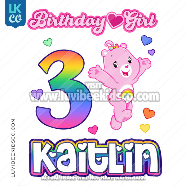 Care Bears Inspired Heat Transfer Design - Birthday Girl - Cheer Bear