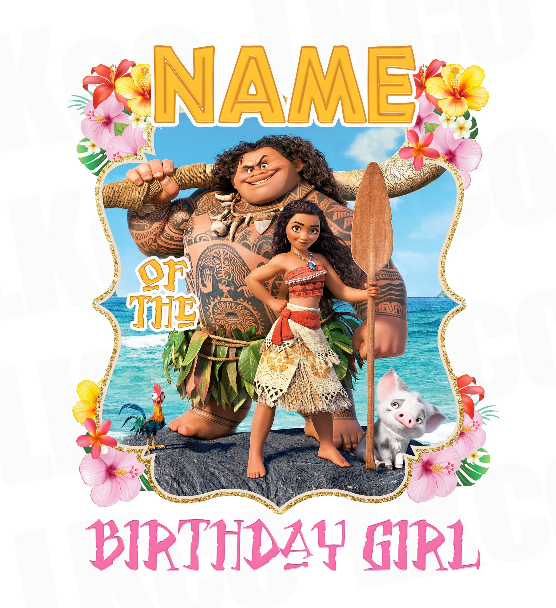 Moana Iron On Transfer | Add Family Members | Pink - LuvibeeKidsCo