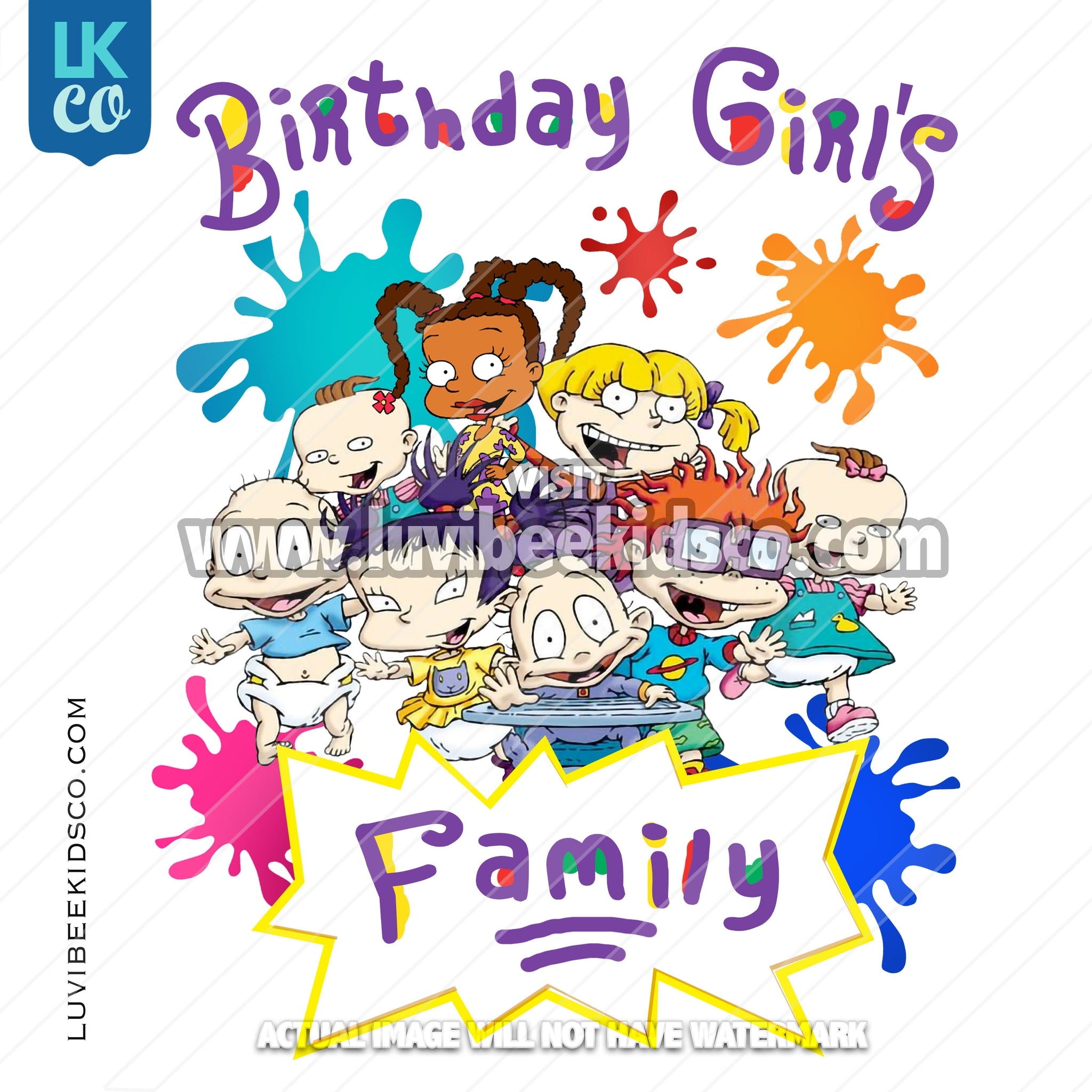 Rugrats Heat Transfer Designs - Add Family Members - Birthday Girl - Printed Transfer OR Digital File - LuvibeeKidsCo