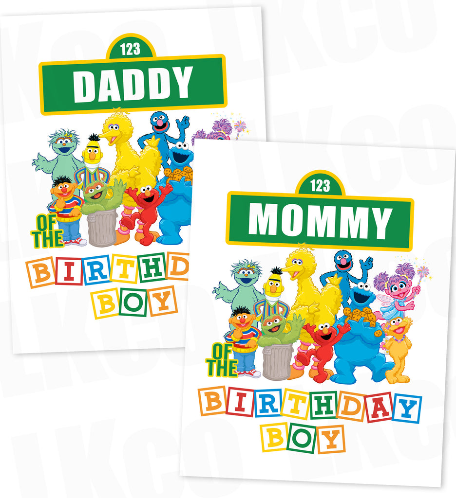 Sesame Street Birthday Iron On Transfers - Mommy & Daddy Set - Birthday Boy