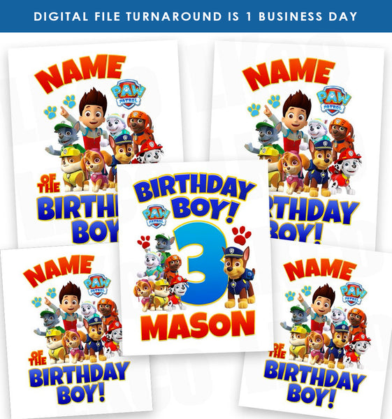 Paw Patrol Iron On Transfers Family Pack | Birthday Boy #2