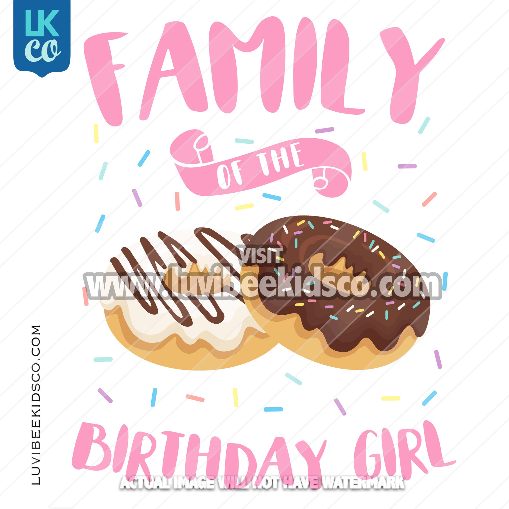 Donut Party Heat Transfer Designs - Add Family Members - LuvibeeKidsCo