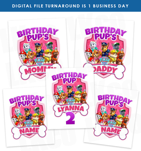 Paw Patrol Iron On Transfers Family Pack | Pink Bone