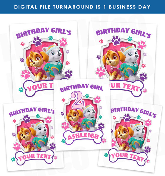 Paw Patrol Iron On Transfers Family Pack | Pink Paw Prints