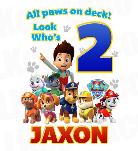 Paw Patrol Iron On Transfer | All Paws On Deck | Look who's - LuvibeeKidsCo