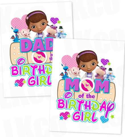 Doc McStuffins Iron On Transfer | Multicolored - Mom & Dad of the Birthday Girl - LuvibeeKidsCo