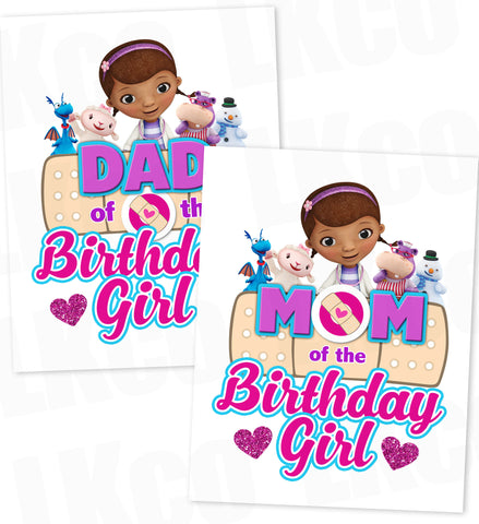 Doc McStuffins Iron On Transfer | Hearts - Mom & Dad of the Birthday Girl - LuvibeeKidsCo