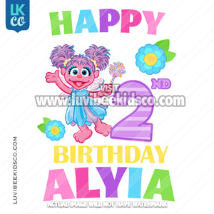 Sesame Street Birthday Iron On Design - Abby Cadabby - Happy Birthday - LuvibeeKidsCo