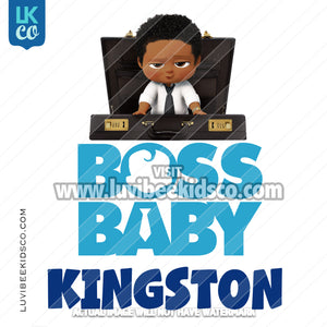 Boss Baby Iron On Transfer | African American Boy | Briefcase - LuvibeeKidsCo
