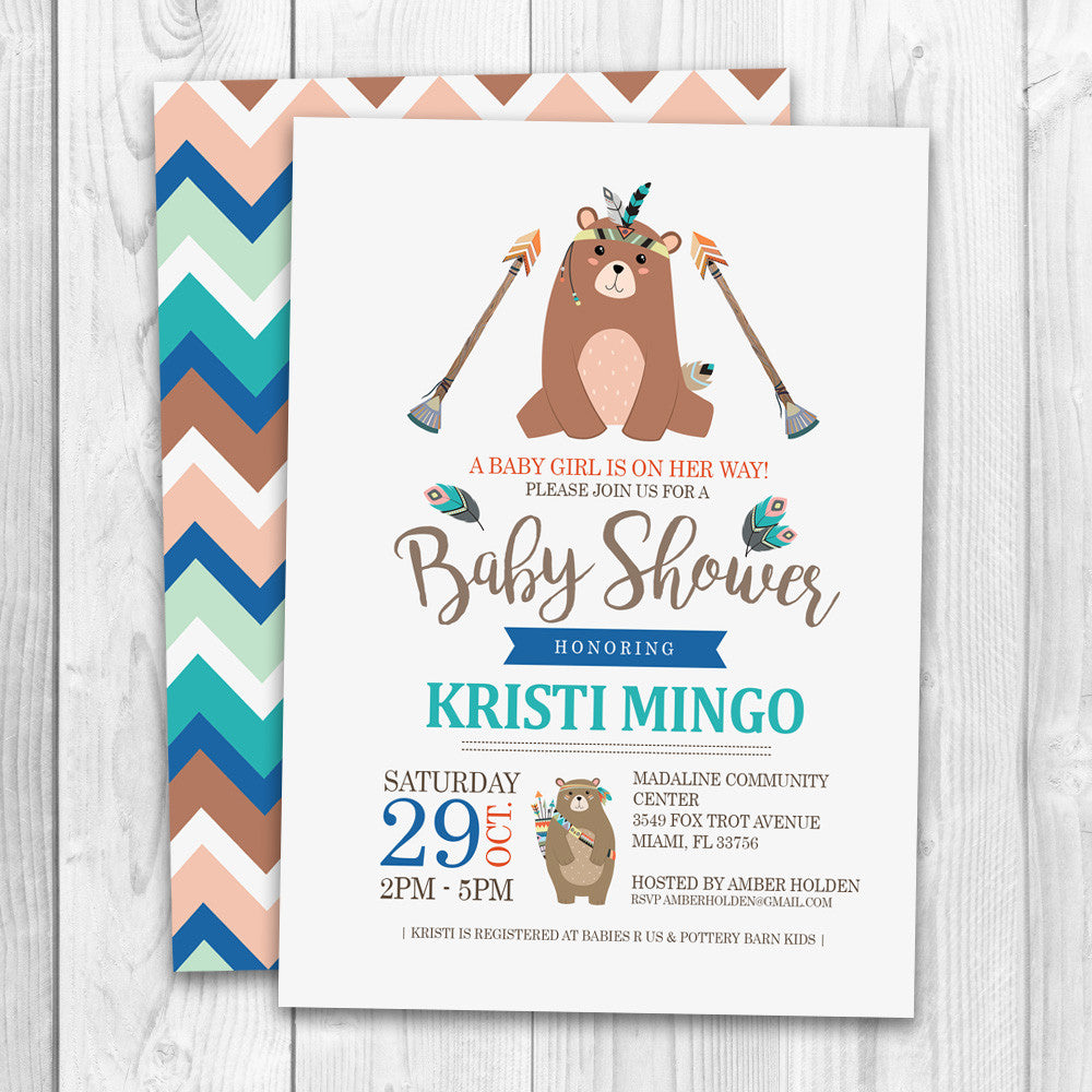Tribal Baby Shower Invitation | Little Bear Tribal Baby Shower