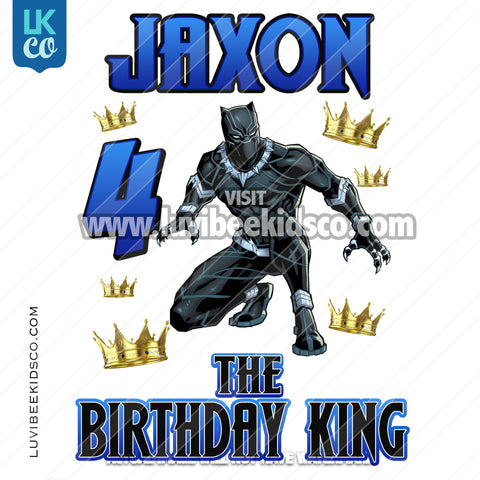 Black Panther Digital File [12-24hr email] for Birthdays and Events - Any Name and Age - Birthday King Crowns - LuvibeeKidsCo