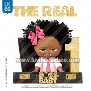 Boss Baby Iron On Transfer | African American Girl | The Real Boss Baby